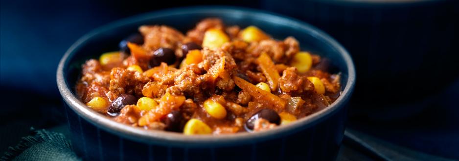 Chili aux Haricots Noirs, au Maïs et à la Dinde