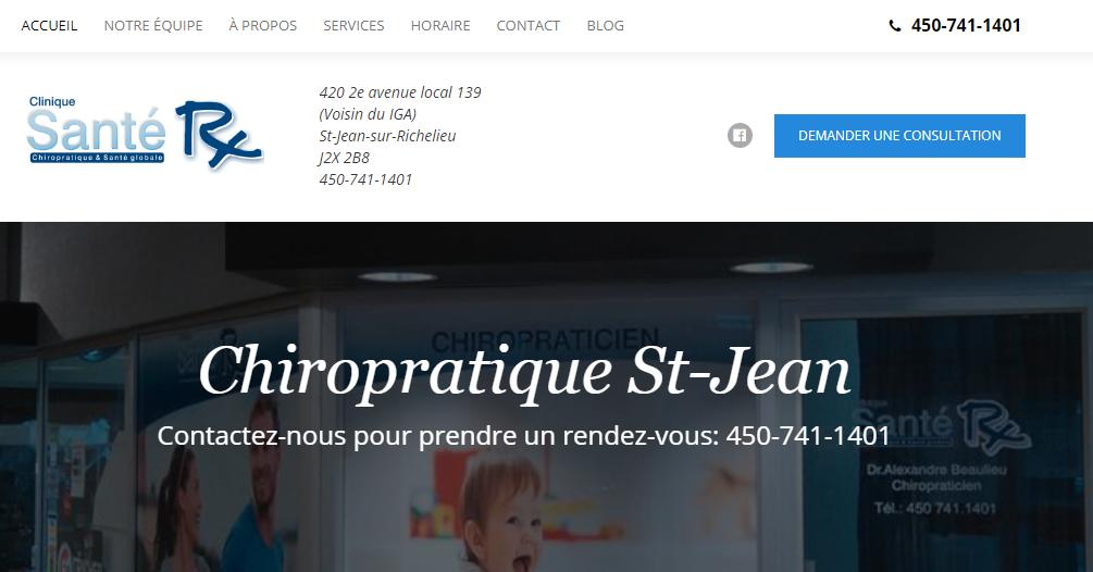 Clinique Chiropratique Santé RX en Ligne