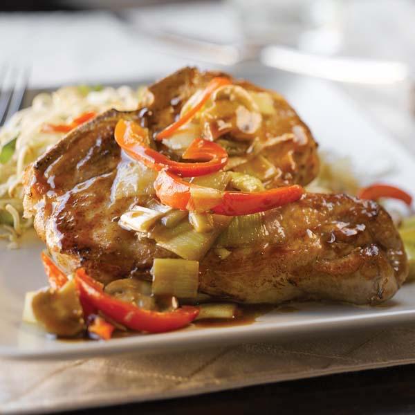 Côtelettes de Porc Recouvertes de Légumes