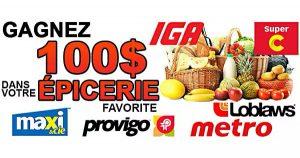 CONCOURS GAGNEZ 100$ D'ÉPICERIE