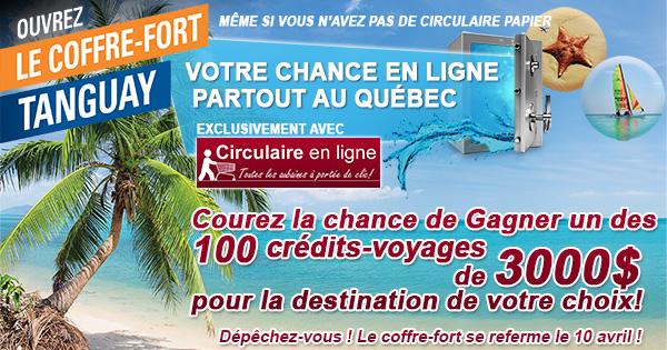 Concours Coffre-fort Tanguay gagnez un voyage de 3000$