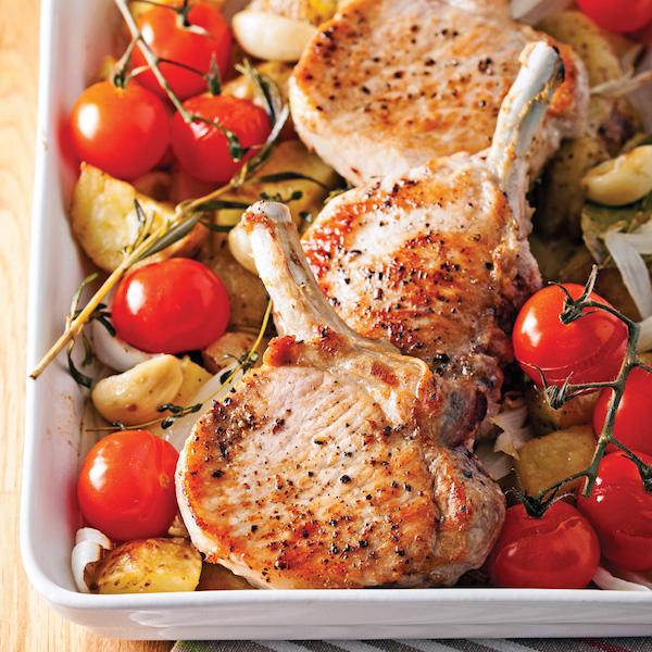Côtelettes de Porc et Légumes Rôtis