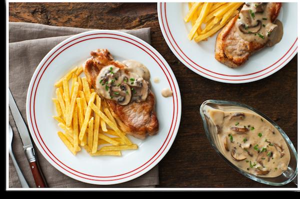 Photo Recette Côtelettes de Porc et Superfries avec Sauce aux Champignons
