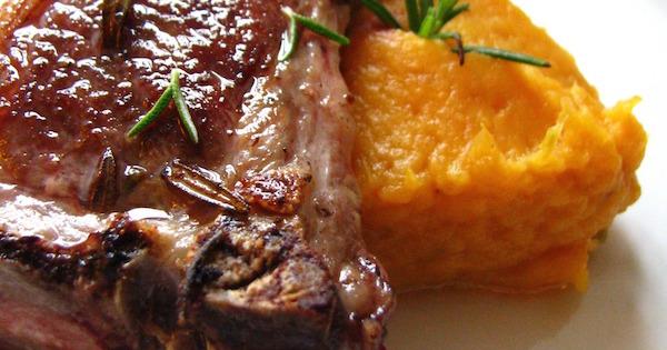 Côtes D'agneau au Romarin, Purée de Patate Douce