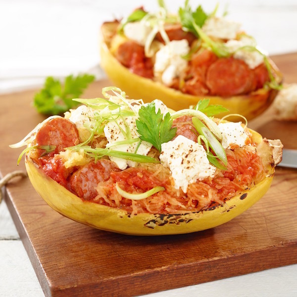 Courge Spaghetti Saucisse et Féta