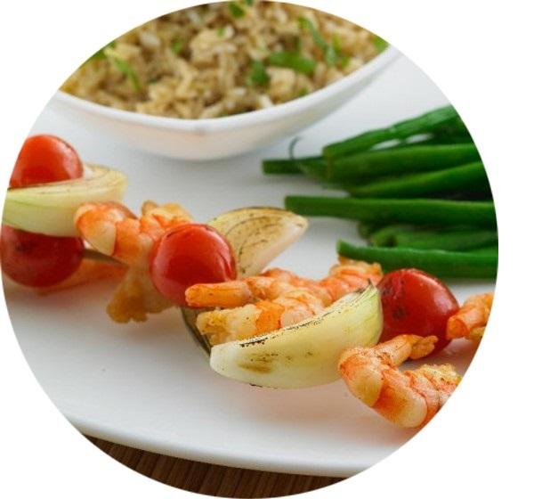 Crevettes Épicées et Brochette de Légumes