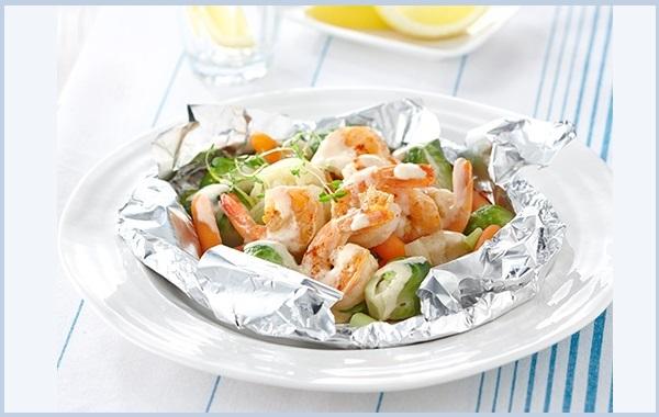 Crevettes Grillées et Légumes Grillés