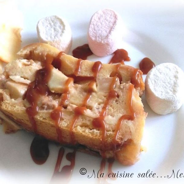 Croque-Cake Brioché Pommes-Caramel Beurre Salé au Cœur Fondant Chamallows