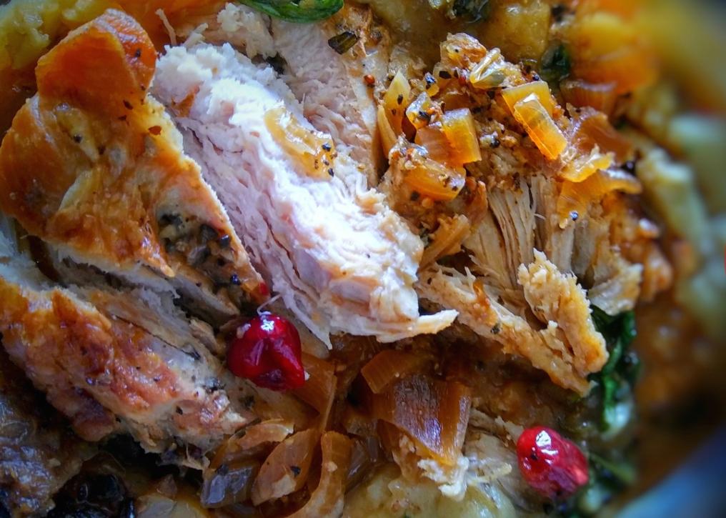 Photo Recette Dinde au Pamplemousse, sa Sauce aux Canneberges/Lime/Sirop d'érable & ses Petits Pois au Bacon