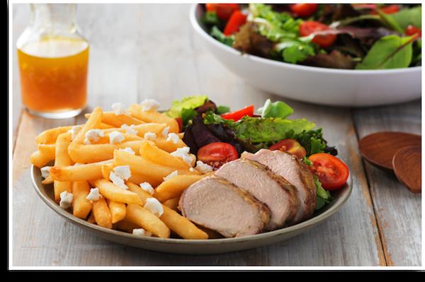 Filet de Porc à L'érable et à la Moutarde avec Superfries au Fromage de Chèvre