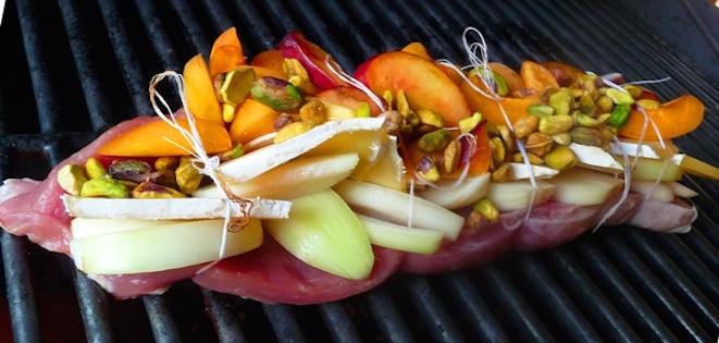 Photo Recette Filet de Porc au Fromage Abricots et Nectarines au BBQ