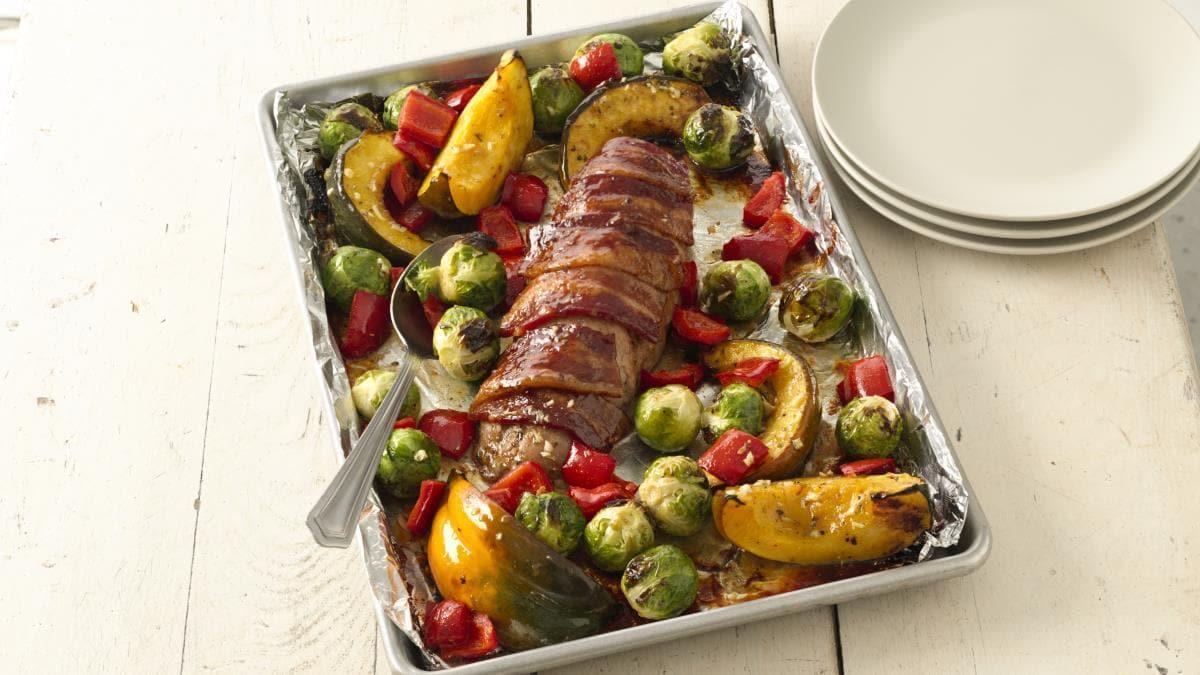 Filet de Porc Enrobé de Bacon Accompagné de Légumes du Potager