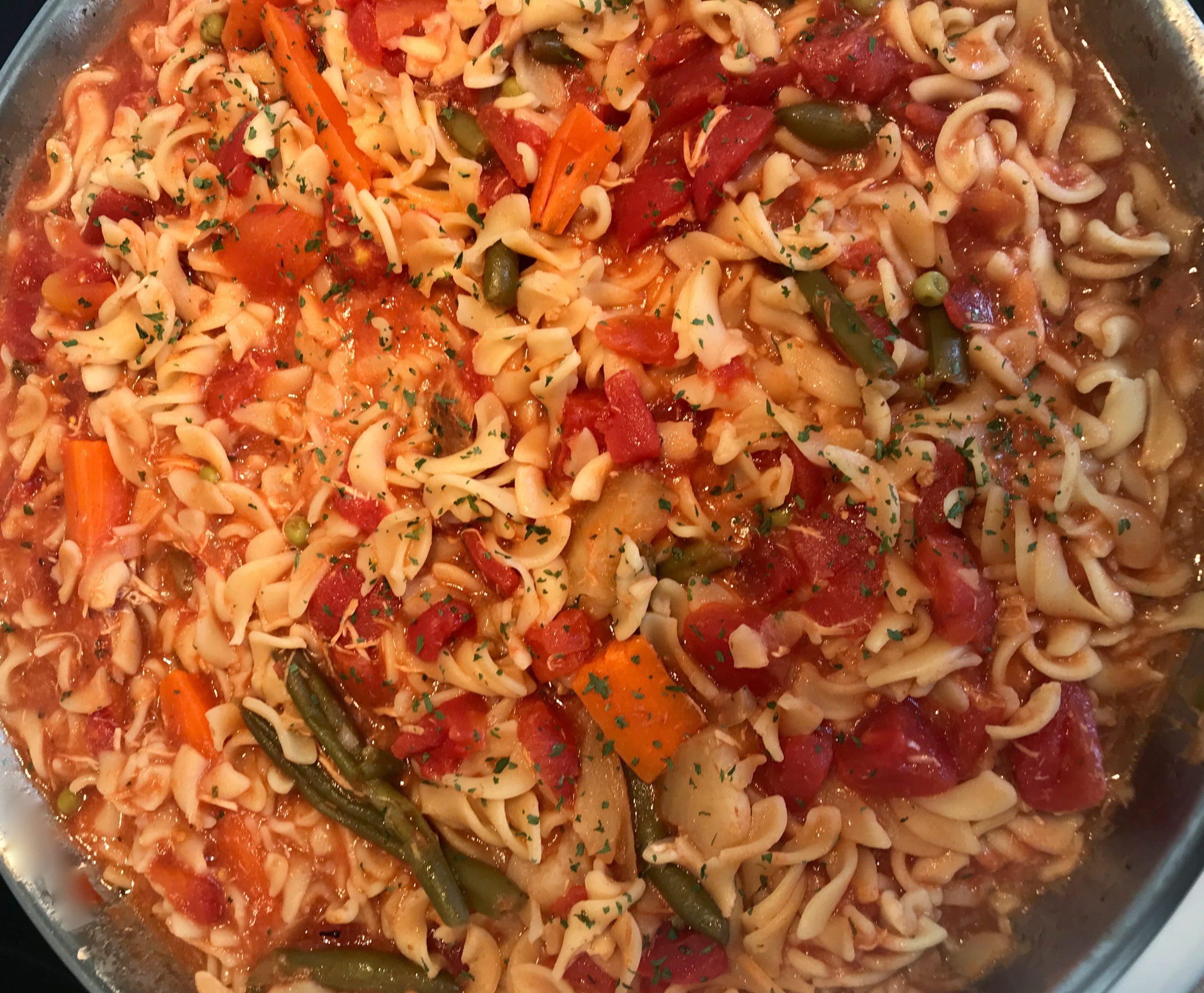 Fusillis Sauce Tomates avec Légumes