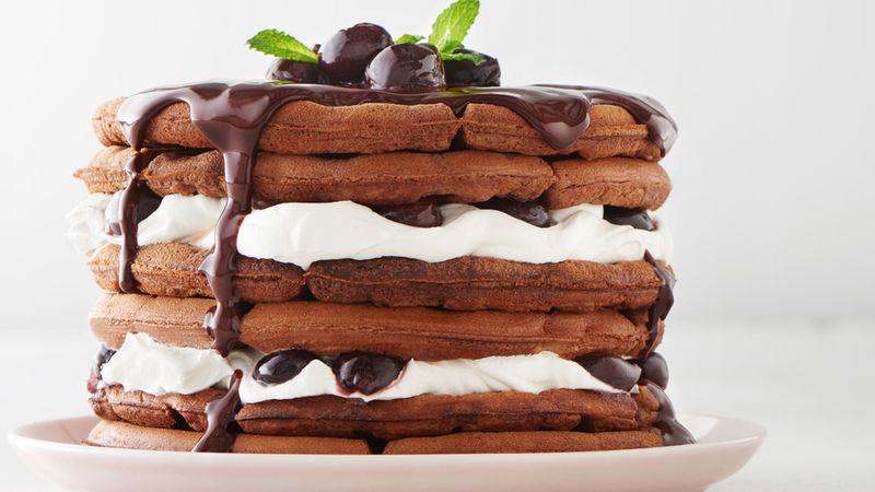 Gâteau de Gaufres Forêt-noire aux Cerises