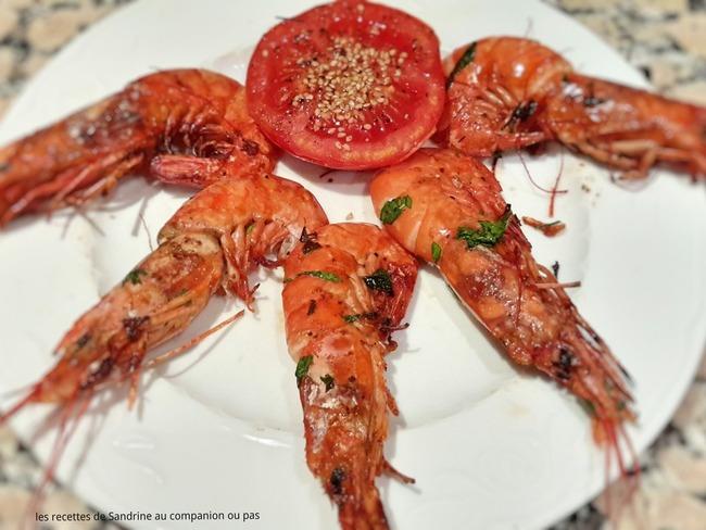 Gambas de Rosas Marinées au Citron, Huile D'olive et Persillade Grillées au Barbecue ou à la Plancha