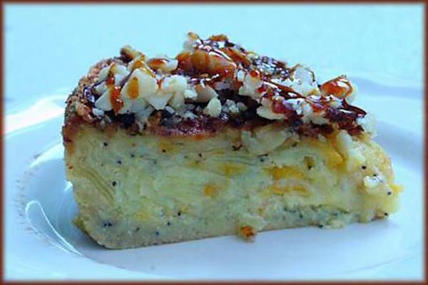 Gâteau Fondant Pommes/Abricots au Croquant Caramélisé de Macadamia