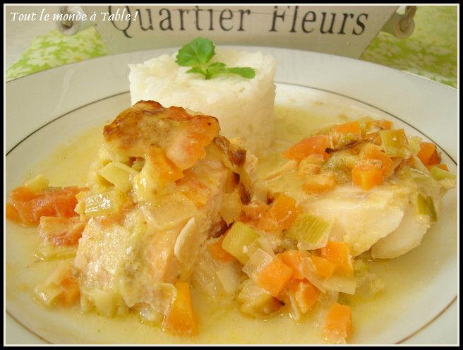 Gratin aux Deux Poissons (dos de cabillaud et saumon) et ses Petits Légumes