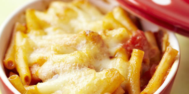Gratin de Pâtes Mozzarella, Parmesan et Dés de Tomates