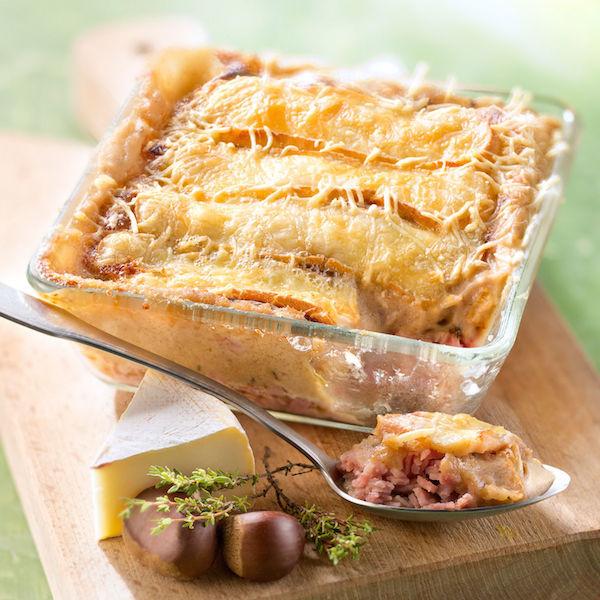 Gratin de Pommes de Terre, Jambon, Marrons et Reblochon
