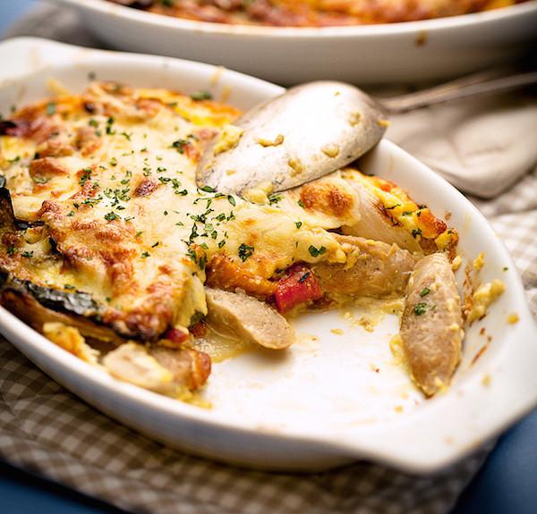 Gratin de Saucisses Légumes Grillées et Pommes de Terre