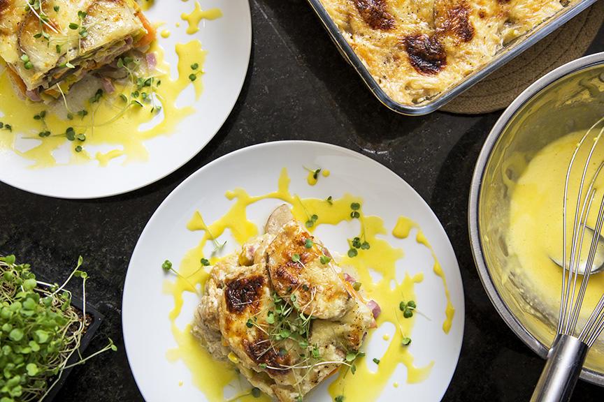 Gratin Étagé de Patates Douces Poireau et Jambon Forêt Noire