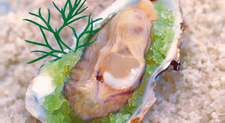Huîtres en Granité de Pomme Verte