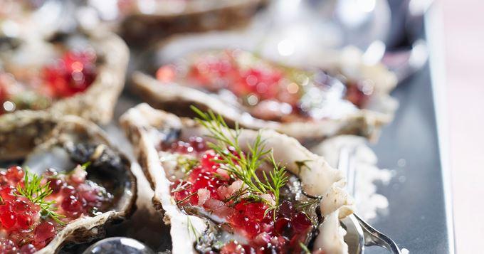 Huîtres Fraîches à la Vinaigrette de Framboises