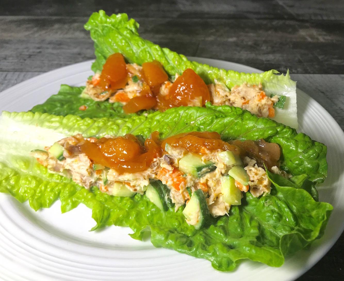 Photo Recette Laitue Farcie de Salade de Poulet et Sauce au Pêches