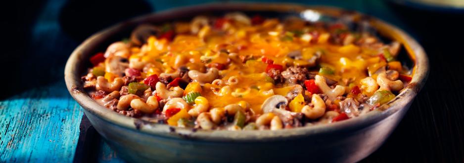 Macaroni au Fromage et Bœuf en Casserole