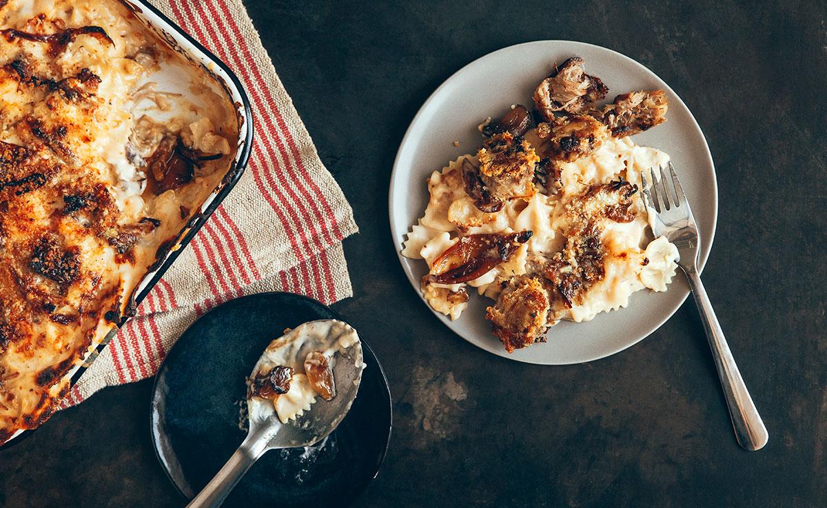 Macaroni au Fromage Gouda et Porc Effilochés  À la Mijoteuse