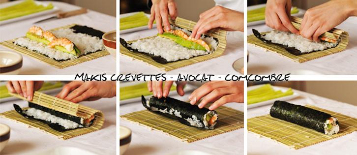Makis Concombre Avocat Crevettes, Makis Californiens, Makis Chèvre Tomates Sechées