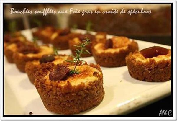 Mini Bouchées Soufflées au Foie Gras en Croûte de Spéculoos et Figue Confite