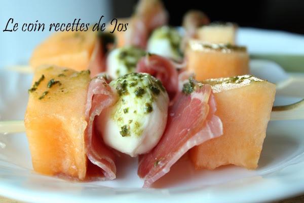 Photo Recette Mini-Brochettes de Cantaloup Bocconcinis et Prosciutto