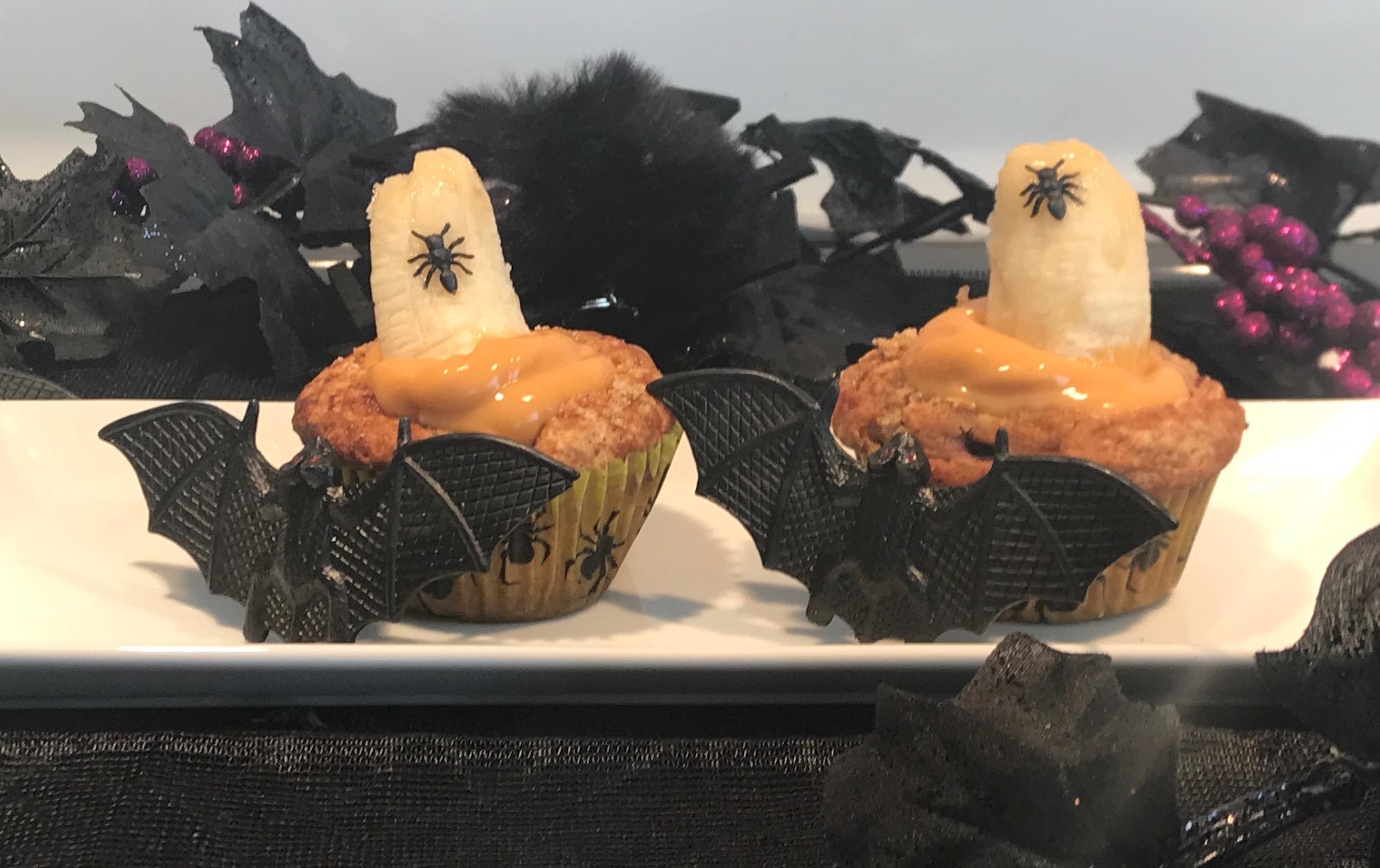 Muffins à la Citrouille, aux Bananes et Pouding Caramel pour L'halloween