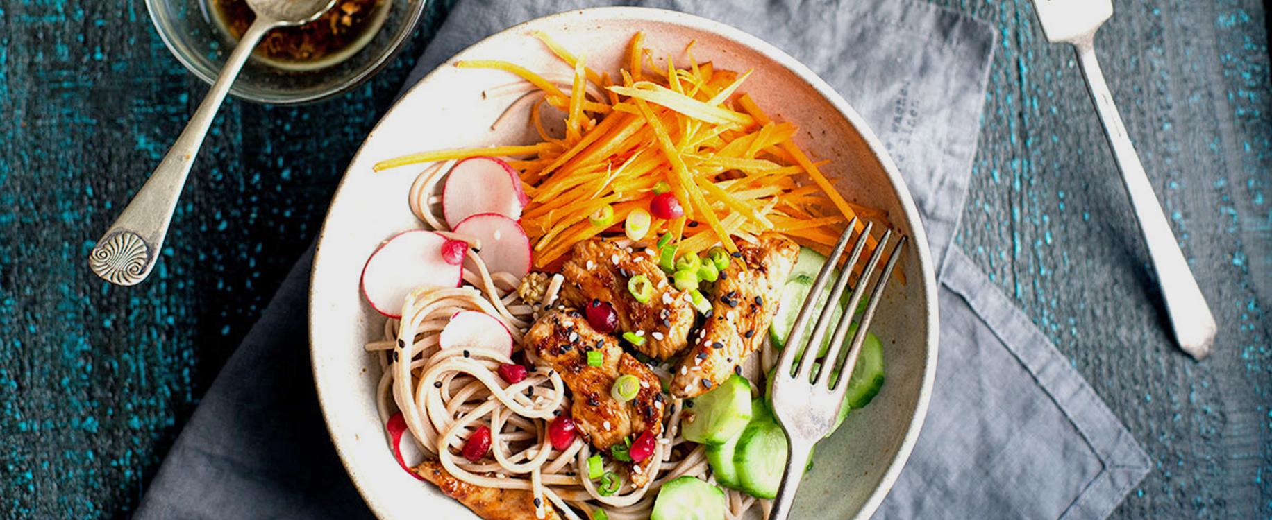 Photo Recette Nouilles Soba au Poulet Grillé à L'asiatique et Salade Croquante