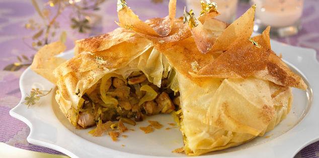 Pastilla de Noël à la Dinde, au Foie Gras et aux Fruits Secs