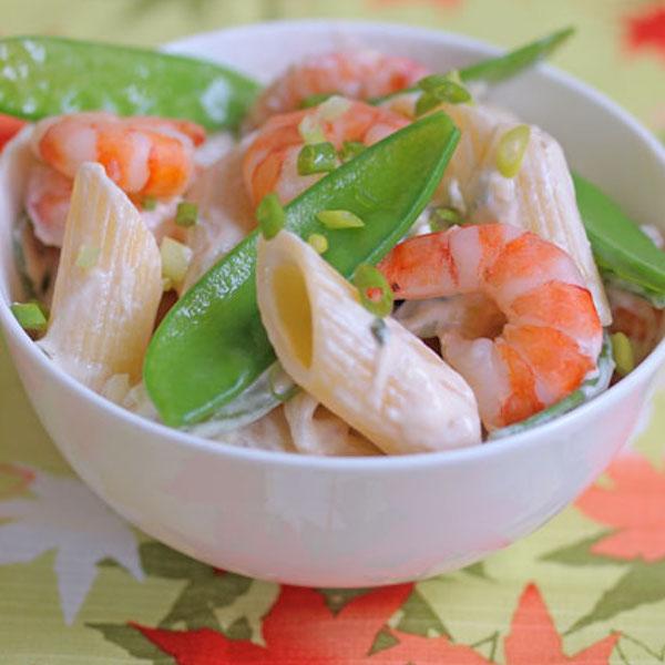 Pâtes aux Crevettes et aux Pois Gourmands
