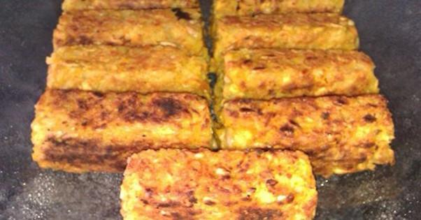 Pavés de Curry et Flocons de Riz avec Pois Chiches