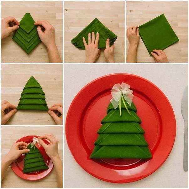 Plier une Serviette de Table en Sapin de Noël