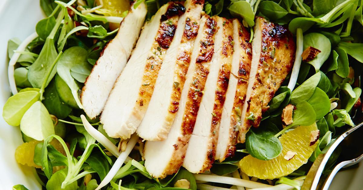 Poitrines de Poulet à la Moutarde de Dijon, Salade D'agrumes