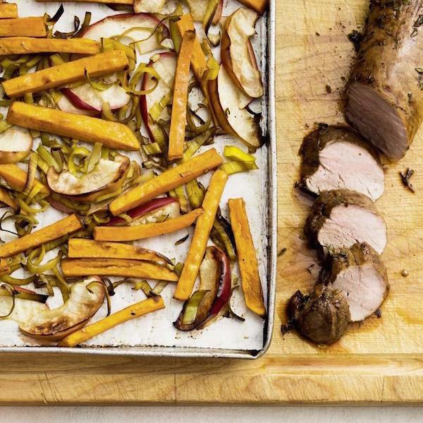 Photo Recette Porc Patates Douces et Pommes Rôties au Balsamique