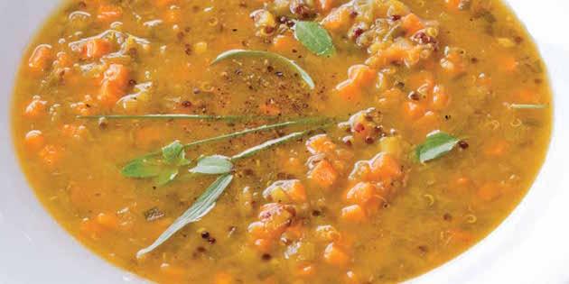 Potage de Poireaux et de Patates Douces au Quinoa Parfumé au Curcuma