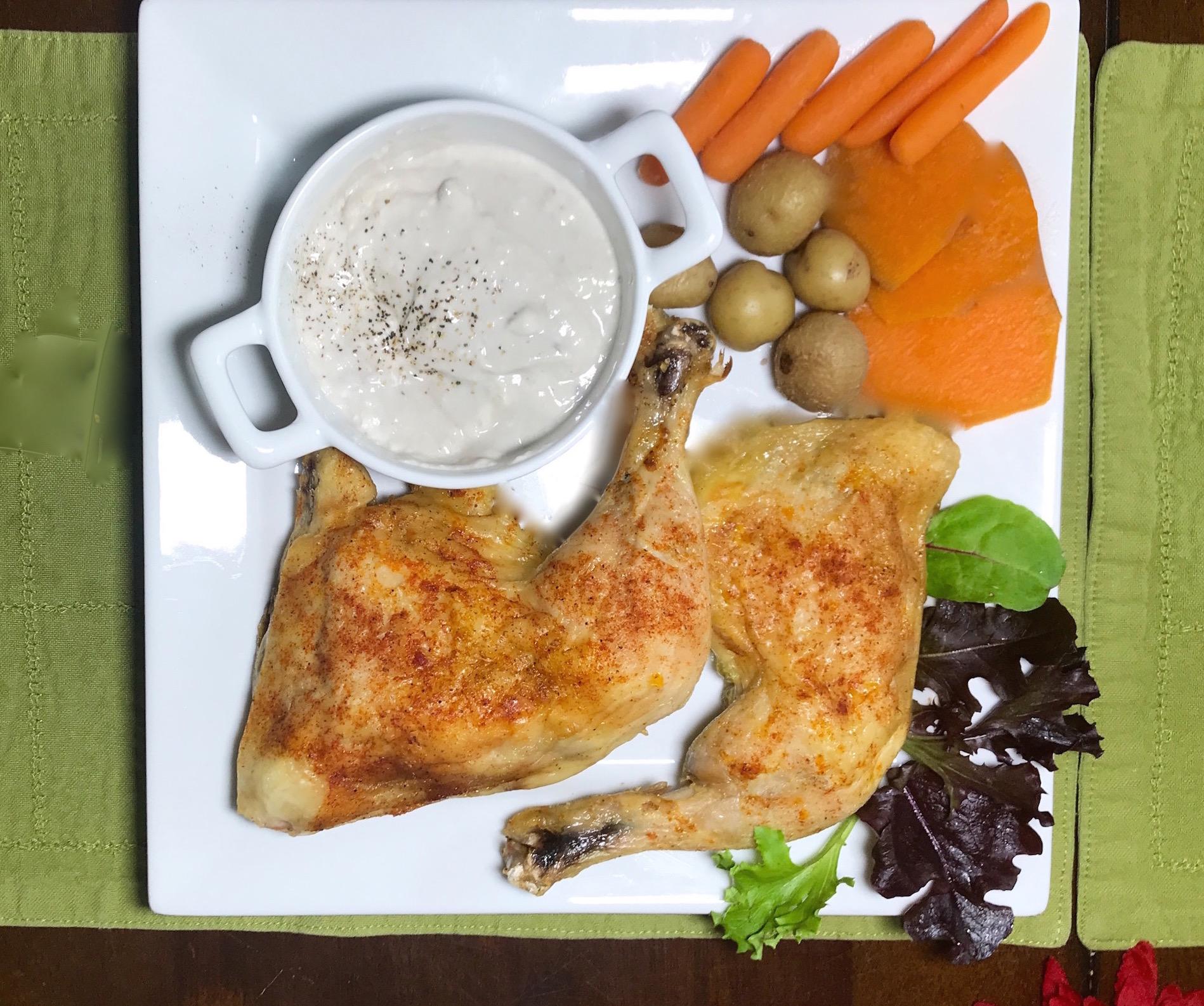 Poulet BBQ Crème Champignons et Légumes