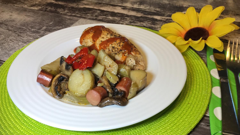 Poulet et Saucisses de Poulet Cuit au Four
