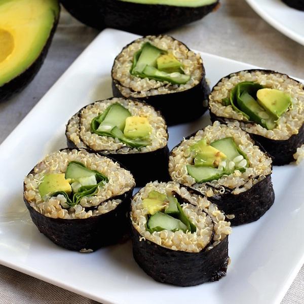 Quinoa Avocat, Cucumer et Épinards Sushi