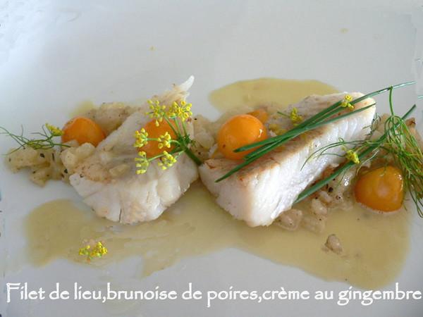 Recette Filet de Lieu, Brunoise de Poires, Crème au Gingembre