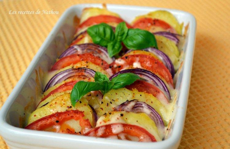 Recette Tian de Pommes de Terre, Tomates et Oignons Rouges à la Mozzarella