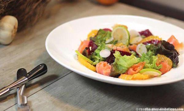 Salade au Saumon , Betterave et Agrumes   (pour diabétique)