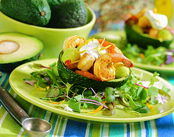 Salade d'avocats et de Crevettes Épicées