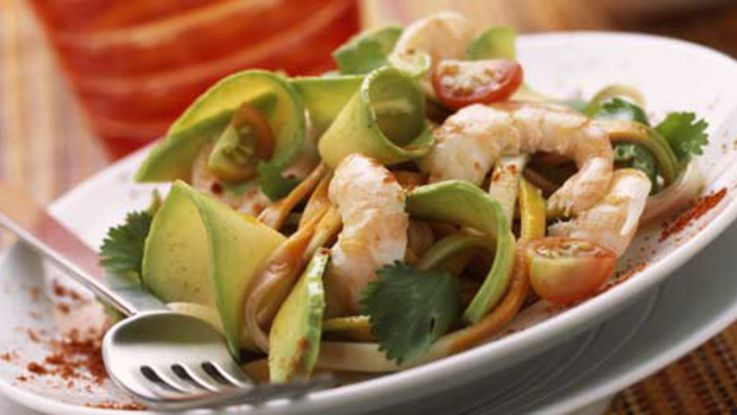 Salade D'avocats et Pamplemousses aux Crevettes